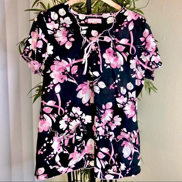 Koi Womens XL Floral Black Pink Scrub Top